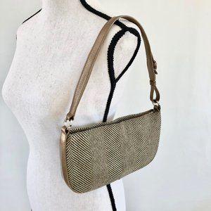 Monsac herringbone tweed shoulder bag, lining flaw